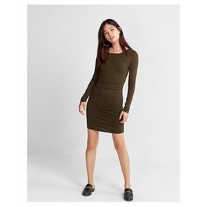 Express Marled Olive Ruched Sweater Dress NWT